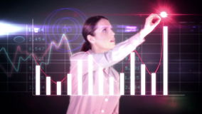 Happy businesswoman drawing hologram graph stock video