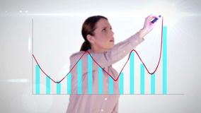 Happy businesswoman drawing hologram graph on white background stock video