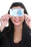 Happy businesswoman with euro money Stock Photos