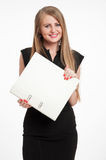 Happy businesswoman with file Stock Photo