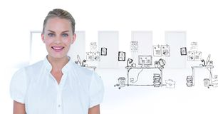 Happy businesswoman in front of a drawing of messy office stock images