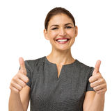 Happy Businesswoman Gesturing Thumbs Up Stock Image