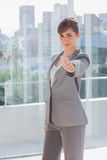 Happy businesswoman giving thumb up Royalty Free Stock Photos