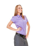 Happy businesswoman in glasses laughing Stock Photo