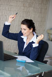 Happy businesswoman got good financial news Royalty Free Stock Photography