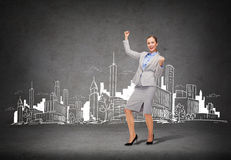 Happy businesswoman with hands up Royalty Free Stock Photos