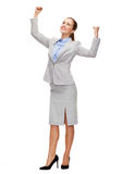 Happy businesswoman with hands up Royalty Free Stock Images
