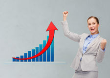 Happy businesswoman with hands up Royalty Free Stock Photo