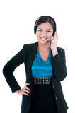 Happy Businesswoman With Headset Royalty Free Stock Photo