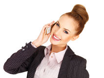 Happy businesswoman on her mobile Royalty Free Stock Photography