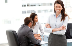 Happy businesswoman with her team during a meeting Royalty Free Stock Photography