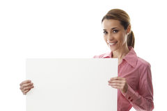 Happy businesswoman holding billboard with text space Royalty Free Stock Photography