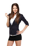 Happy businesswoman holding a blank businesscard Royalty Free Stock Photo
