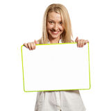 Happy businesswoman holding blank white card Stock Images