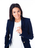 Happy businesswoman holding cup of coffee Royalty Free Stock Photography