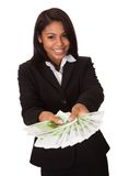 Happy Businesswoman Holding Euro Note In Hand Royalty Free Stock Images