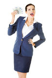 Happy businesswoman holding euros Stock Photos