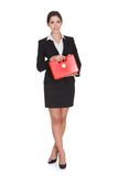 Happy Businesswoman Holding First Aid Box. Isolated On White Stock Image