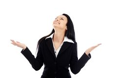 Happy businesswoman holding her arms up Royalty Free Stock Photos