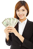 Happy businesswoman holding the money Stock Image