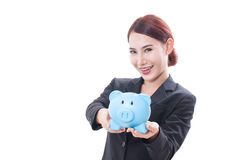 Happy businesswoman holding piggy bank Stock Photography