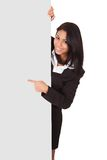 Happy businesswoman holding placard Stock Image
