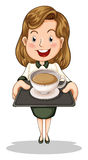 A happy businesswoman holding a tray with a cup of choco Stock Photo
