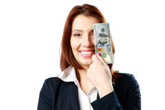 Happy businesswoman holding US dollars Stock Image