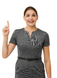 Happy Businesswoman With An Idea Pointing Up Stock Photo