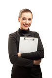Happy businesswoman isolated on white. Happy beautiful businesswoman with clipboard isolated on white background Stock Image