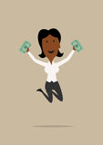 Happy businesswoman jumping with money Royalty Free Stock Photography