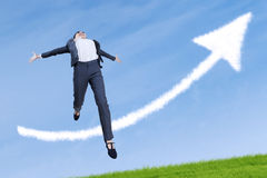 Happy businesswoman jumping in success Royalty Free Stock Images