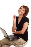 Happy businesswoman just had a brilliant idea. Happy young attractive Caucasian business woman has an idea Stock Photos
