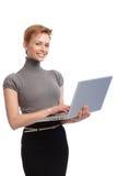 Happy businesswoman with laptop Stock Photo