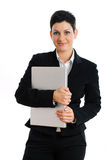 Happy businesswoman with laptop isolated Stock Image