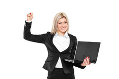 Happy businesswoman with laptop isolated on white royalty free stock photography