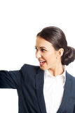 Happy businesswoman looking to the left Royalty Free Stock Photo