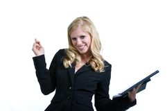 Happy Businesswoman Looking at You Royalty Free Stock Images