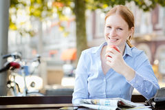 Happy Businesswoman on Lunch Break Royalty Free Stock Image