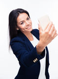 Happy businesswoman making selfie photo Stock Photo