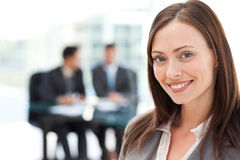 Happy businesswoman during a meeting royalty free stock photos
