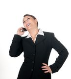 Happy businesswoman with mobile phone Royalty Free Stock Photos