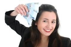 Happy businesswoman with money Stock Photos