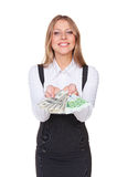Happy businesswoman with money Stock Photography