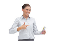 Happy businesswoman with money in her hand Stock Photos