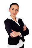 Happy Businesswoman On White Background Stock Photo