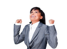 Happy businesswoman with open hands Stock Photo