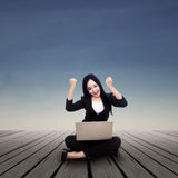 Happy businesswoman outdoors Royalty Free Stock Image