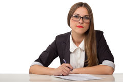 Happy businesswoman with pen and documents Stock Images