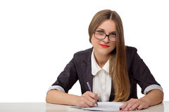 Happy businesswoman with pen and documents Stock Photos